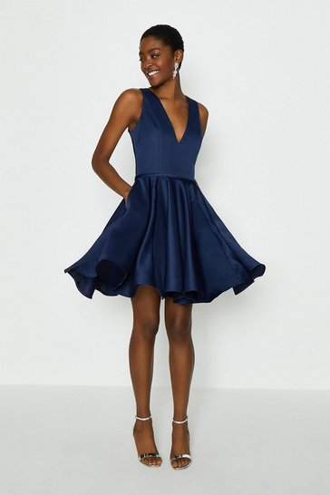 Navy V Neck Satin Short Dress