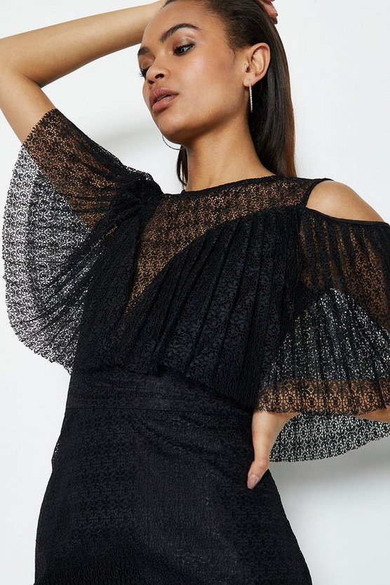Black Pleated Lace Bodice Short Dress