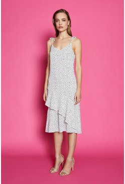 Mono Shoulder Tie Spot Midi Dress