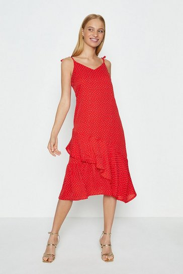 Red Shoulder Tie Spot Midi Dress