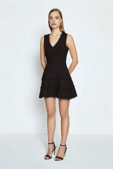 Black Trim Insert Short Skater Dress