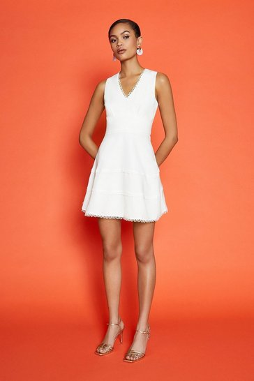 Ivory Trim Insert Short Skater Dress