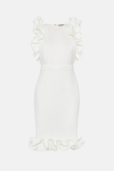 Ivory Sleeveless Ruffle Shoulder Frill Hem Dress