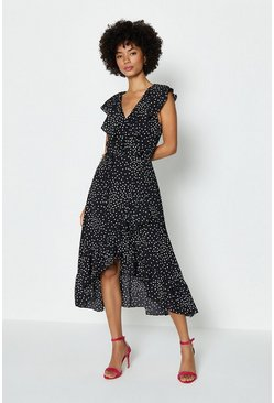 Black Spotty Wrap Dress