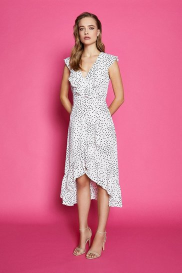 Ivory Spotty Wrap Dress