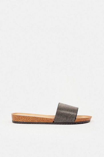 Black Diamante Flat Slide Sandal