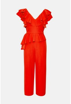 Orange Ruffle V-Neck Culotte Leg Jumpsuit
