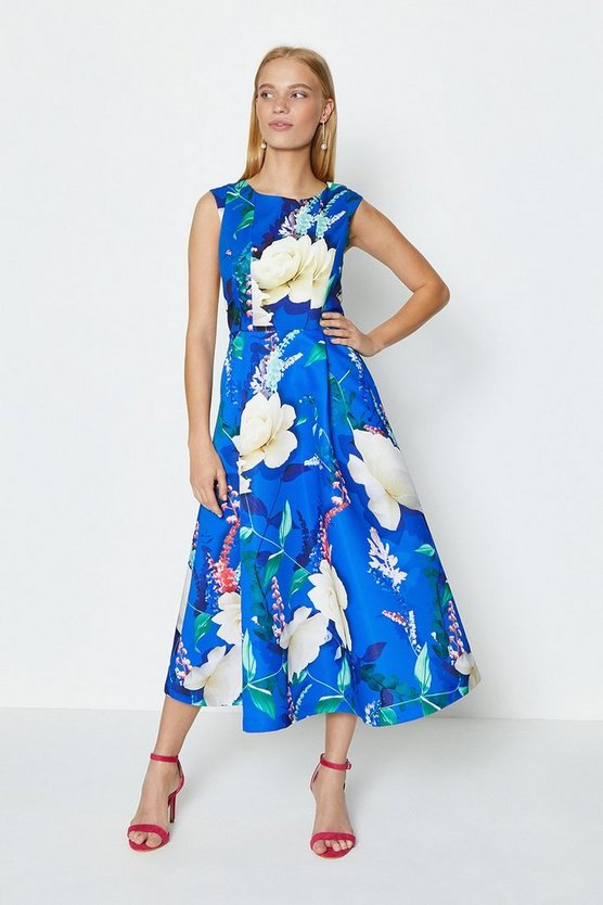 Floral Stretch Bodice Printed Twill Full Midi Dress