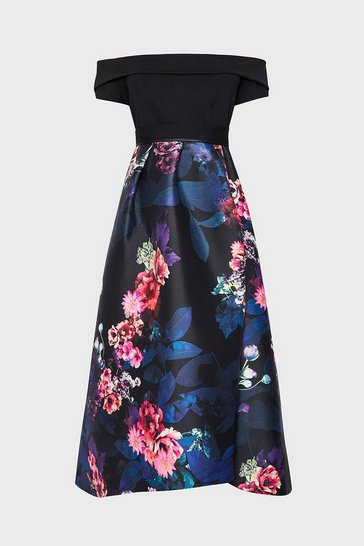 Black Solid Bodice Bardot Floral Full Midi Dress