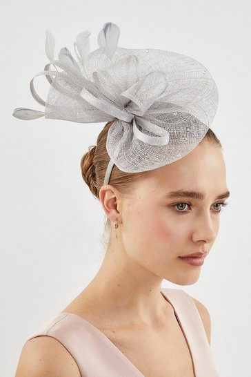 Light grey Embellished Fascinator