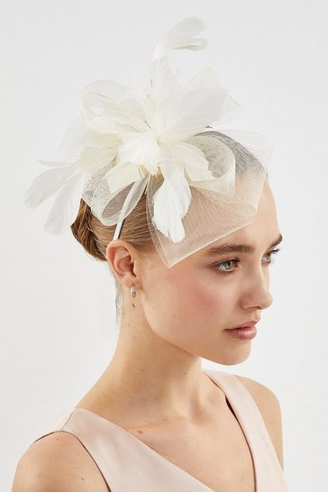 Cream Feather Flower Fascinator