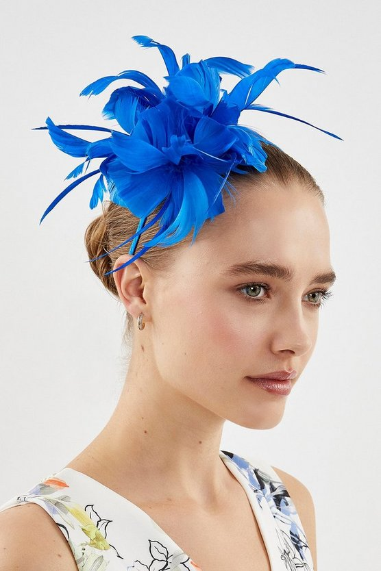Blue Feather Flower Headband