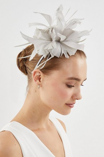 Light grey Feather Flower Headband