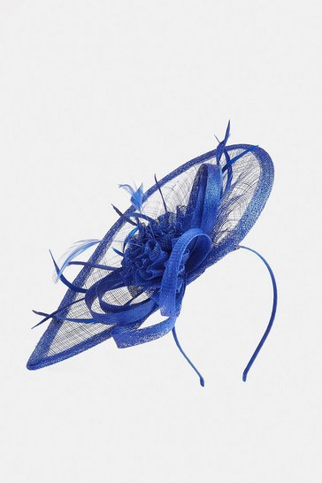 Blue Teardrop Feather Detail Fascinator