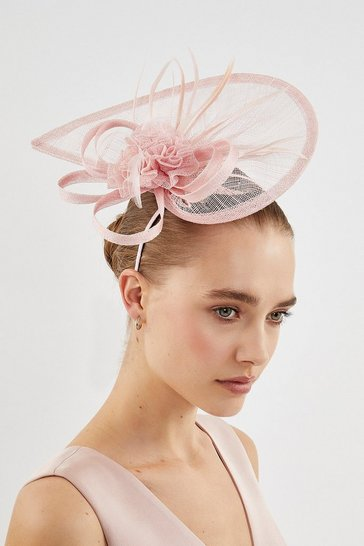 Pink Teardrop Feather Detail Fascinator