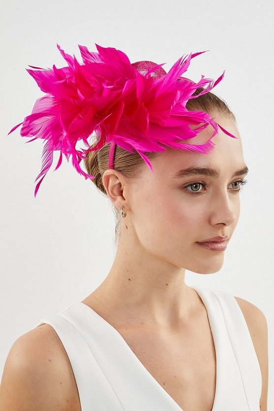 Fushia Statement Feather Loop Fascinator