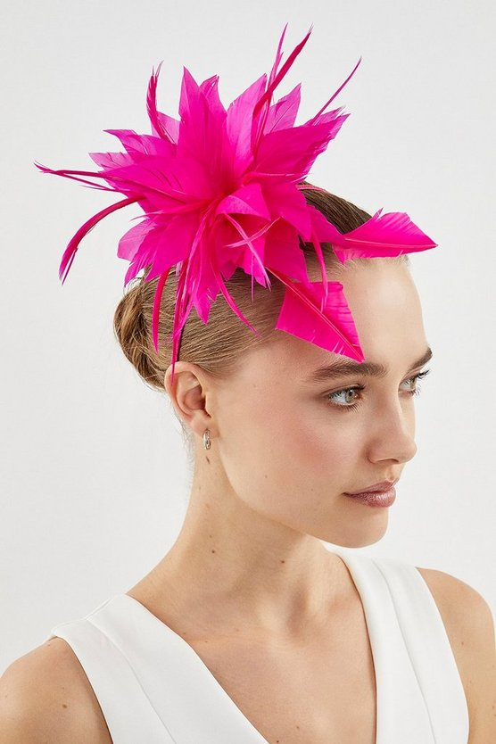 Fushia Statement Feather Fascinator