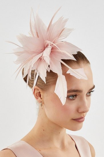 Pale pink Statement Feather Fascinator