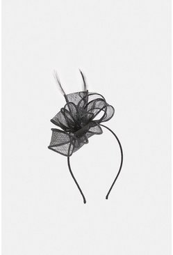 Black Loop Detail Leather Fascinator