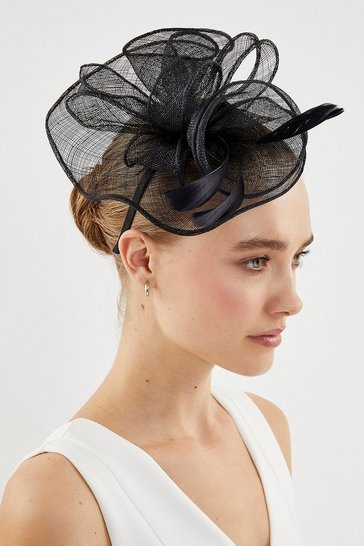 Black Swirl Feather Fascinator