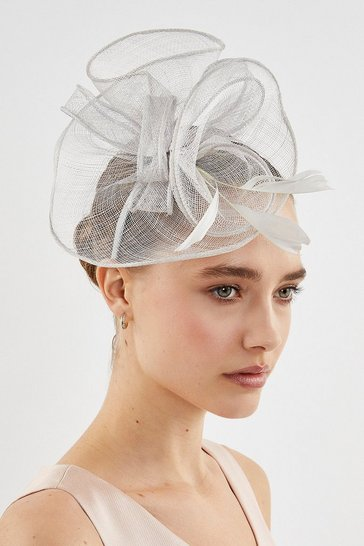Light grey Swirl Feather Fascinator
