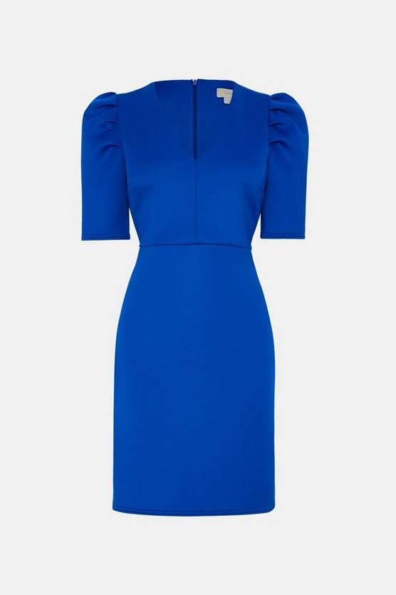 Cobalt  A-Line Short Sleeve V-Neck Dress