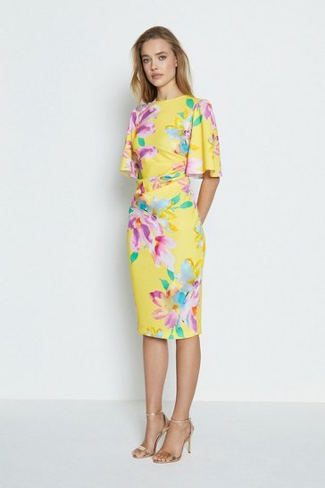Yellow Printed Flare Sleeve Scuba Dress