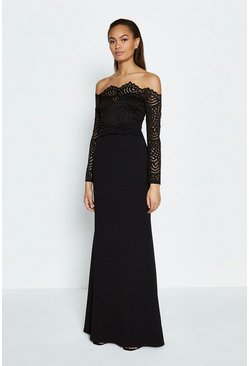 Black Long Sleeve Lace Bardot Maxi Dress