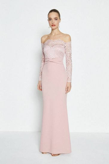 Blush Long Sleeve Lace Bardot Maxi Dress