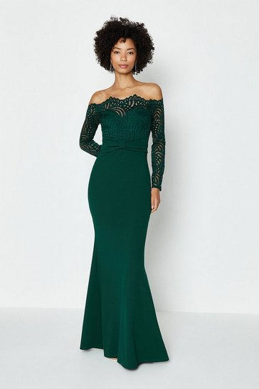 Forest Long Sleeve Lace Bardot Maxi Dress