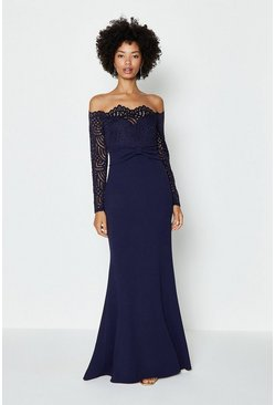 Navy Long Sleeve Lace Bardot Maxi Dress