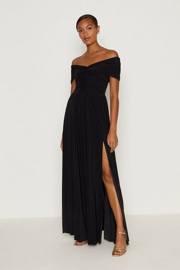 Black Jersey Ruched Bardot Maxi Dress