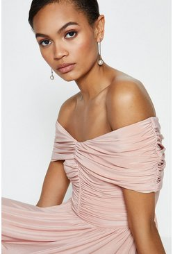Blush Jersey Ruched Bardot Maxi Dress