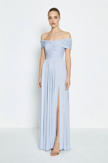 Dusty blue Jersey Ruched Bardot Maxi Dress
