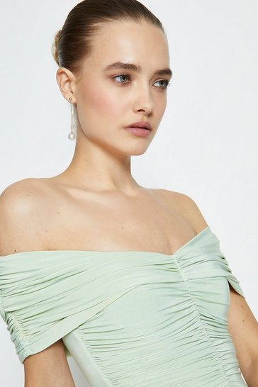 Dusty green Jersey Ruched Bardot Maxi Dress
