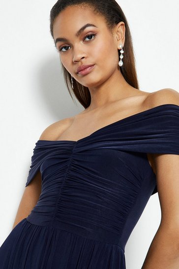 Navy Jersey Ruched Bardot Maxi Dress