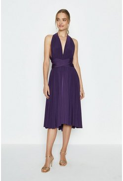 Aubergine Multiway Jersey Midi Dress