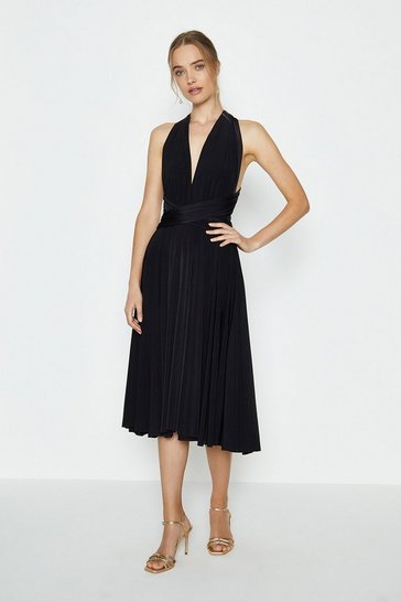 Black Multiway Jersey Midi Dress