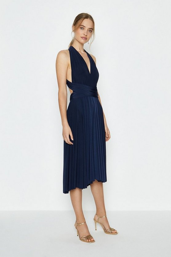 Navy Multiway Jersey Midi Dress