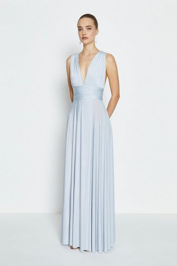 Dusty blue Wrap Skirt Jersey Multiway Maxi Dress