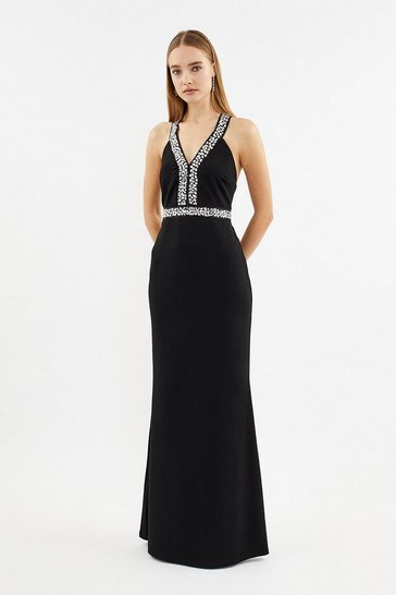 Black Diamante Trim Plunge Neck Maxi Dress
