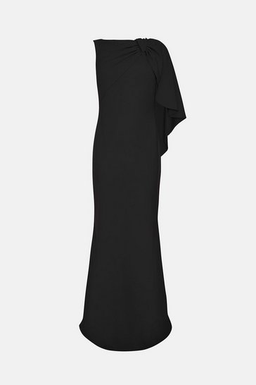 Black Draped Bow Maxi Dress