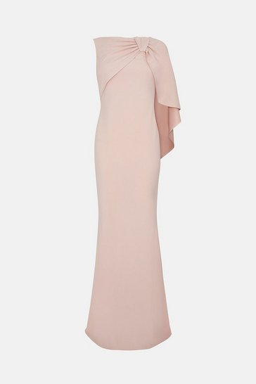 Blush Draped Bow Maxi Dress