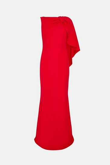 Red Draped Bow Maxi Dress