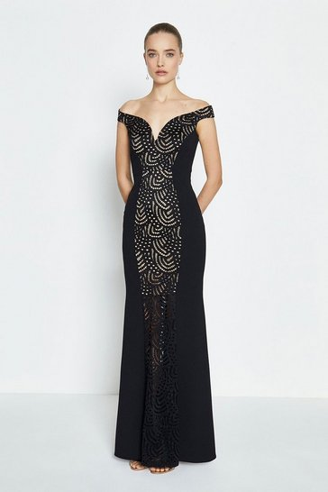 Black Lace Panelled Bardot Fishtail Maxi Dress