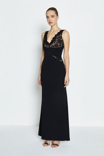 Black Lace Bodice Jersey Maxi Dress