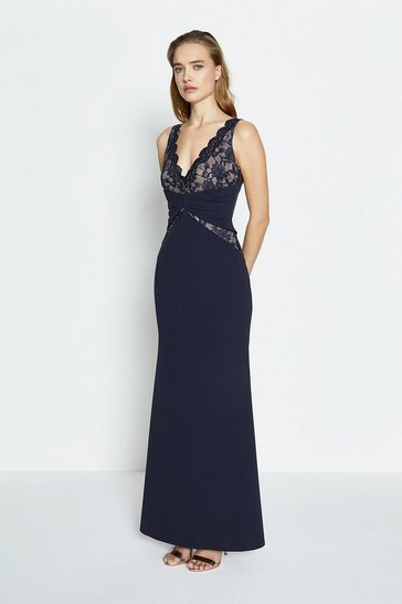 Navy Lace Bodice Jersey Maxi Dress