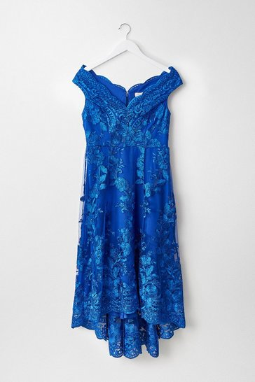 Blue Floral Lace Bardot High Low Dress