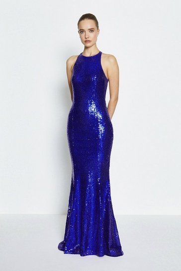 Blue Bow Back Sequin Maxi Dress