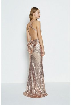 Champagne Bow Back Sequin Maxi Dress